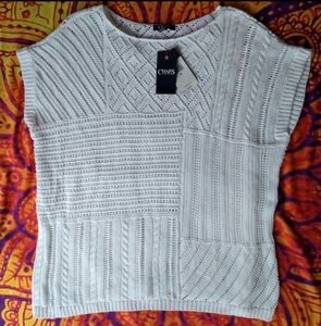 NWT CHAPS Knit Sweater Patchwork ShirtTop